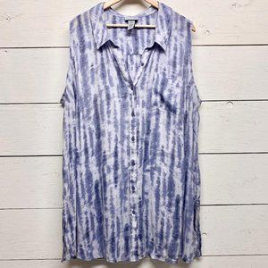 Catherines Tie Dye Sleeveless Button Front Top 3X